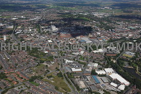 Oldham high level aerial photography looking down Ashton Road Primrose Bank towards Oldham Way and the Oldham Town Centre