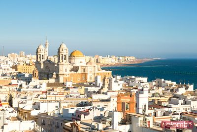 High angle view of city and coast, Cadiz, Andalusia, Spain
