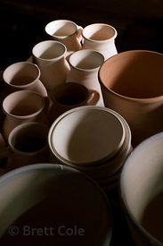 Bowls and plates made by a potter in Cordova, Alaska