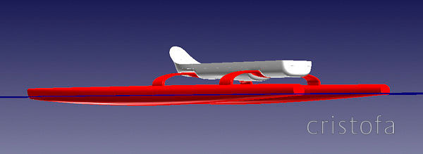 Early CAD of anticipated production boat showing the waterline