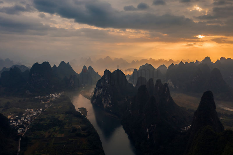 Elevated View of the Karst Mountains and the Li River Scenic Area at Sunrise