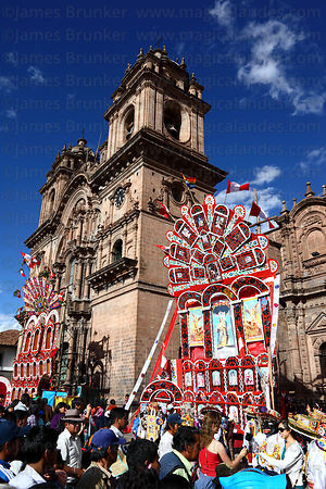 Compañia de Jesus church and decorations for Corpus Christi festival , Plaza de Armas , Cusco , Peru