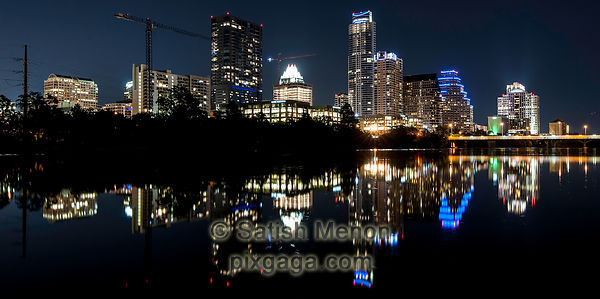 Austin Downtown at Night, with reflection in Colorado River, Texas, USA