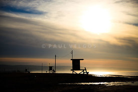 Newport Beach Sunrise Lifeguard Towers Photo