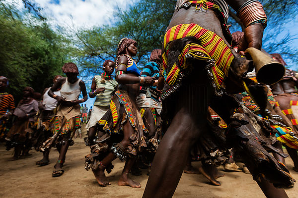 Hamar Women at a Pre-Bull Jumping Whipping Ceremony