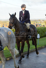 Sophie Hanbury leaving the meet - The Quorn at Barrowcliffe Farm