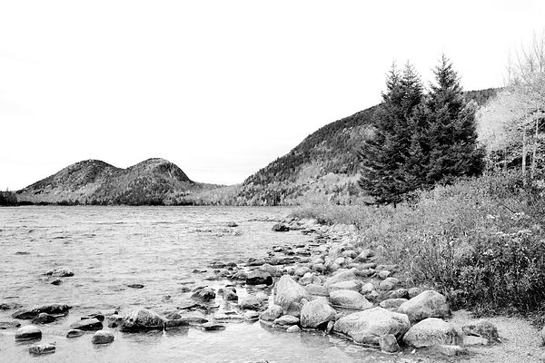 JORDAN POND AND THE BUBBLES MOUNTAINS ACADIA NATIONAL PARK MAINE BLACK AND WHITE