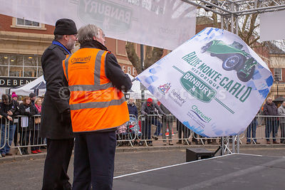 Cllr Maurice Billington waving the starting flag at The Monte Carlo Rally Historique 2019 - Passage Control Banbury