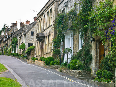 A street with stone cottages, Cotswold