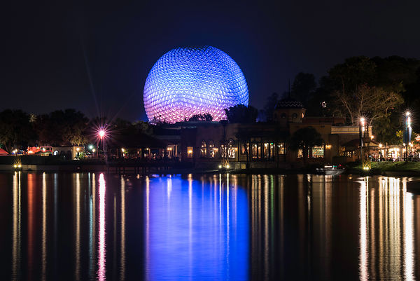 Spaceship Earth Night Reflection in World Showcase Lagoon | Color Print