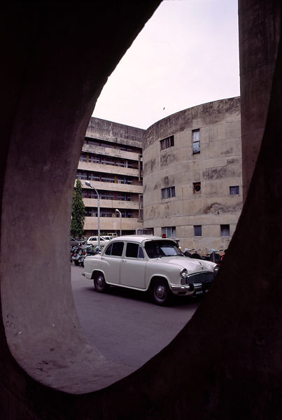 India - Chandigarh - A car in modernist architecture