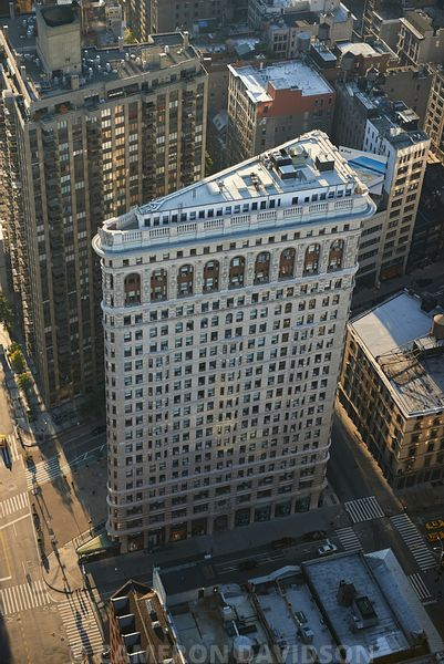 Aerial photogrpah of the Flatiron Building in New York City.