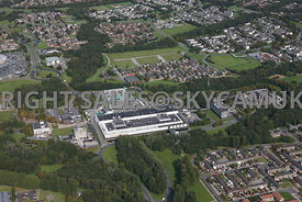 Skelmersdale high level aerial view of the Concourse Shopping centre and offices