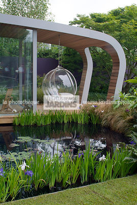 Aquatic garden, Aquatic Iris, Chair, Contemporary garden, Garden furniture, Iris pseudacorus, Pool, Resting area, Water Iris,...