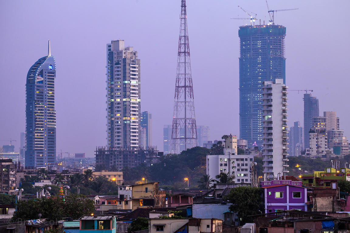 View of Worli at dusk, with the Mumbai skyline in the distance, Mumbai, India.