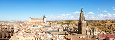 Cityscape with the fortress and the cathedral, Toledo, Spain