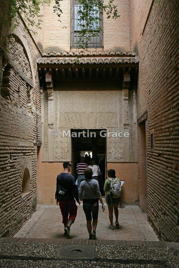 The entrance to the Mexuar, the council chamber of the Alhambra and part of the Nasrid Palaces, Alhambra, Granada, Andalusia,...