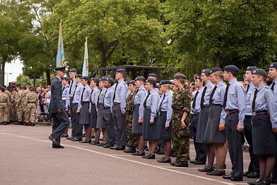 The Flight Lieutenant prepares the Banbury Air Training Corps Squadron for the parade