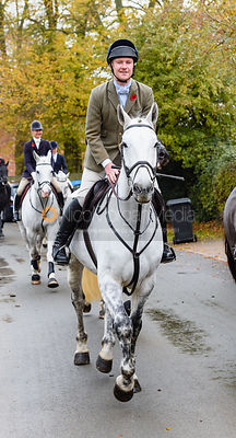 William Bell leaving the meet. The Cottesmore Hunt at Braunston