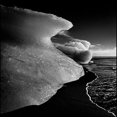 Ice floe and black sand, Iceland 2015 © Laurent Baheux