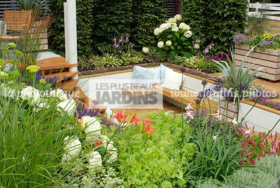 Bench, Border, Border with flowers, garden designer, Garden furniture, Resting area, Sedum, Small garden, Terrace, Urban gard...