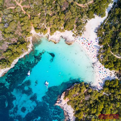 Aerial view of Cala Turqueta beach, Spain