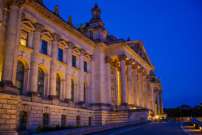 The front of the Reichstag Building at Twilight