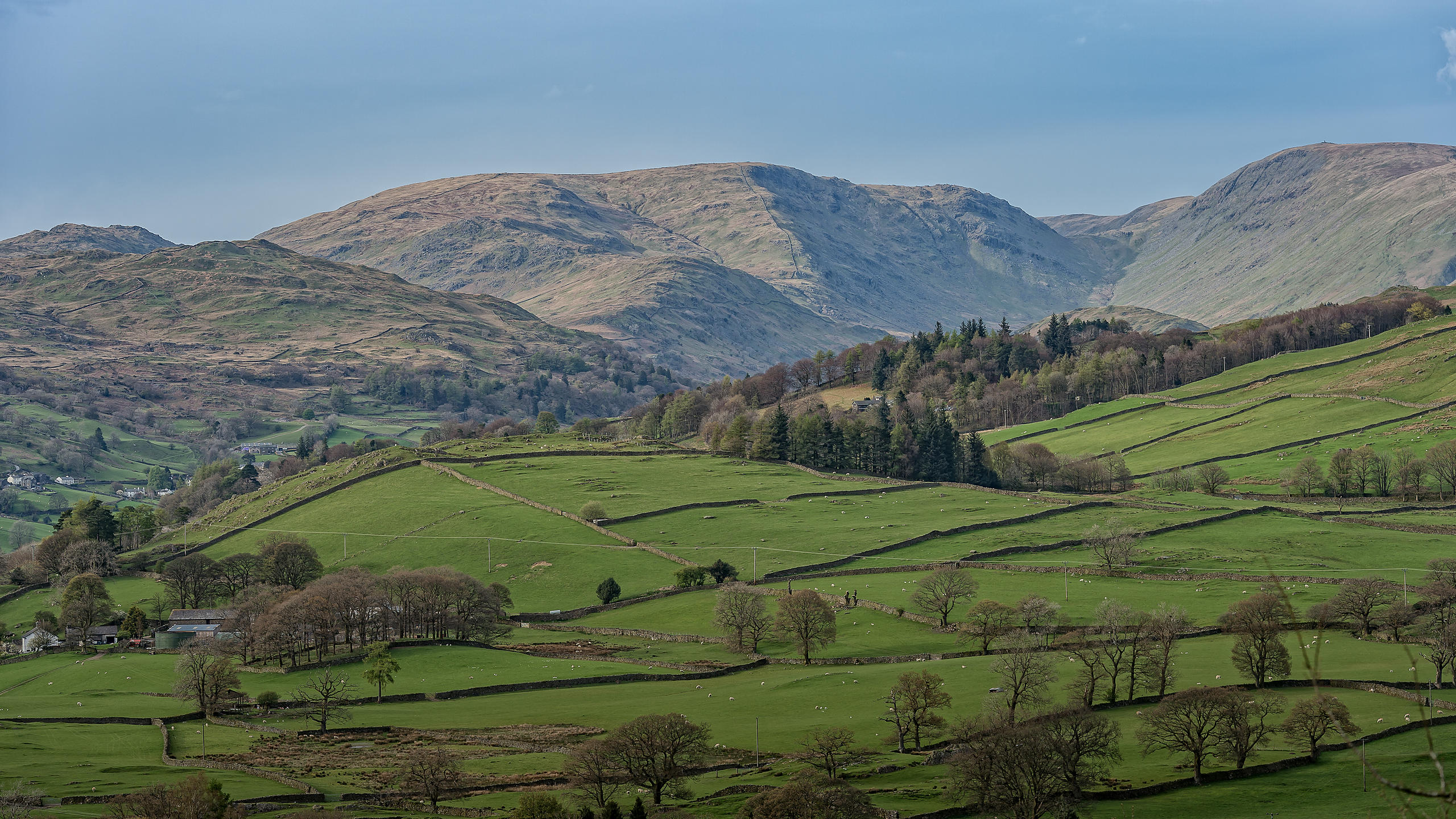 Lake District Mountain View with Fields