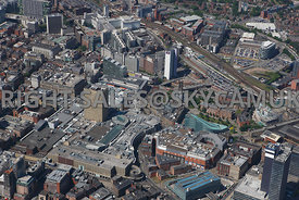 Manchester high level view showing the Printworks the Arndale Centre and the National Football Museum Shudehill Market Street...