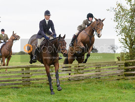 Zoe Mossman jumping a hunt jump at Thorpe Satchville - Quorn Hunt Opening Meet 2016