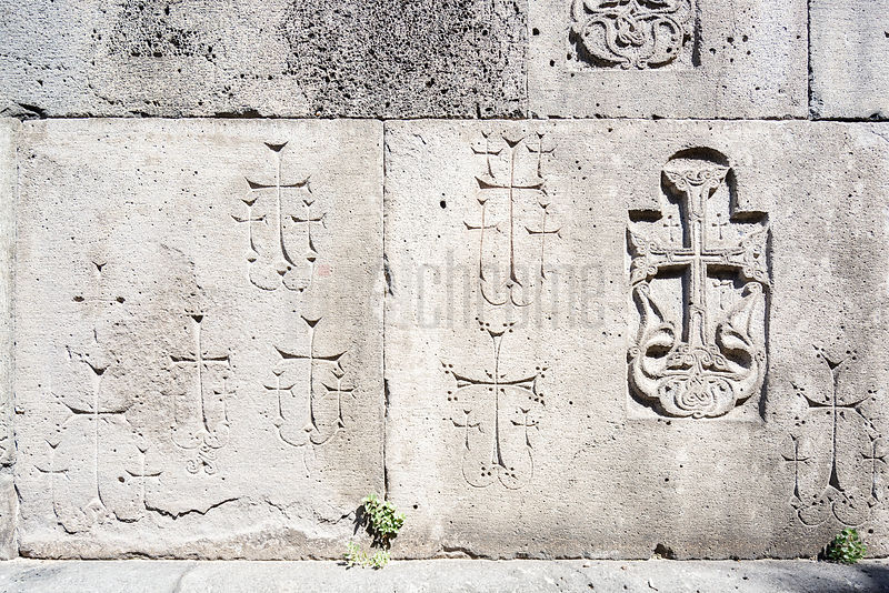 Crosses Carved into a Wall at the Haghpat Monastery Representing Donors
