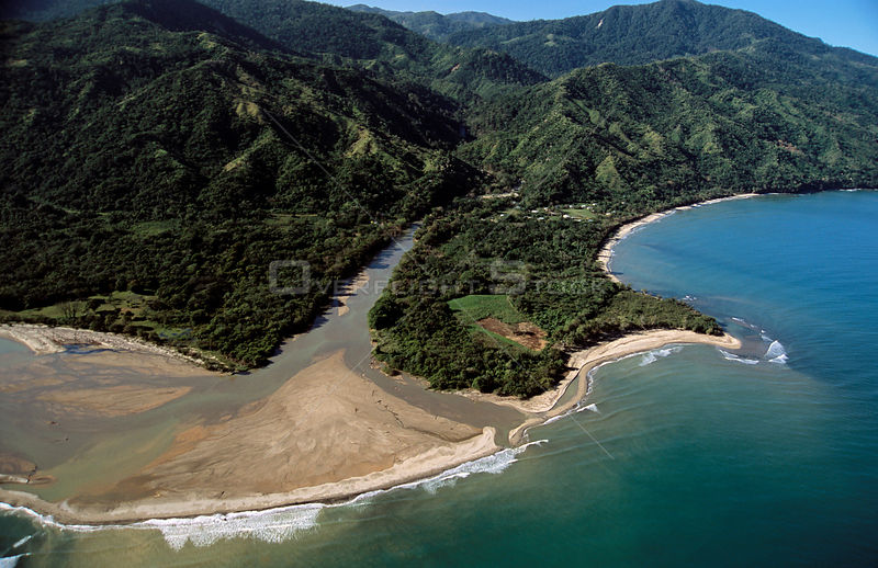 Aerial view of estuary of Rio Esteban flowing into Caribbean sea, Honduras, Central America 2006