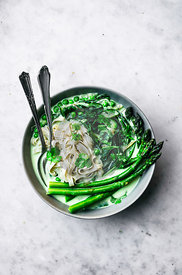 Spring Vegetable Rice Noodles with Coconut Milk Broth
