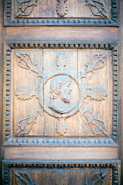 Hungary - Pecs - Detail of a wooden door at the Bishop's Palace