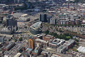 Manchester view of the redevelopment of Angel Square on Miller Street and new  Apartment buildings in the area of Ludgate Str...