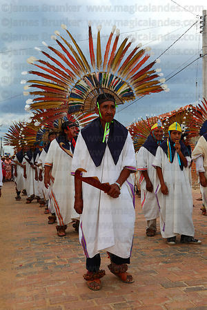 Machetero dancers during main procession of festival, San Ignacio de Moxos, Bolivia