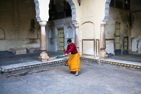 India - Rajasthan - Boys play cricket inside one of the buildings of The Surya Mandir (known as the Monkey Temple)
