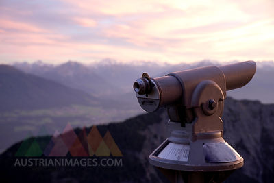 Austria, Tryrol, View of Alps with telescope in foreground