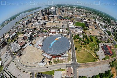 Fed Ex Forum and Fish Eye view of Memphis Tennessee