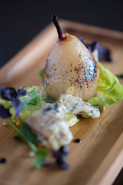 Pear and blue cheese afters from a fine dining restaurant