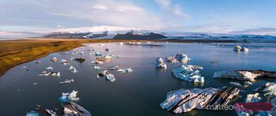 Panoramic view of Jokulsarlon glacial lake at sunrise, Iceland