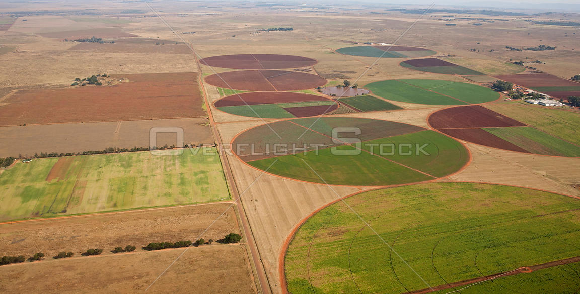 Irrigation crop circles as seen from the air east of Potchefstroom, South Africa, April 2009