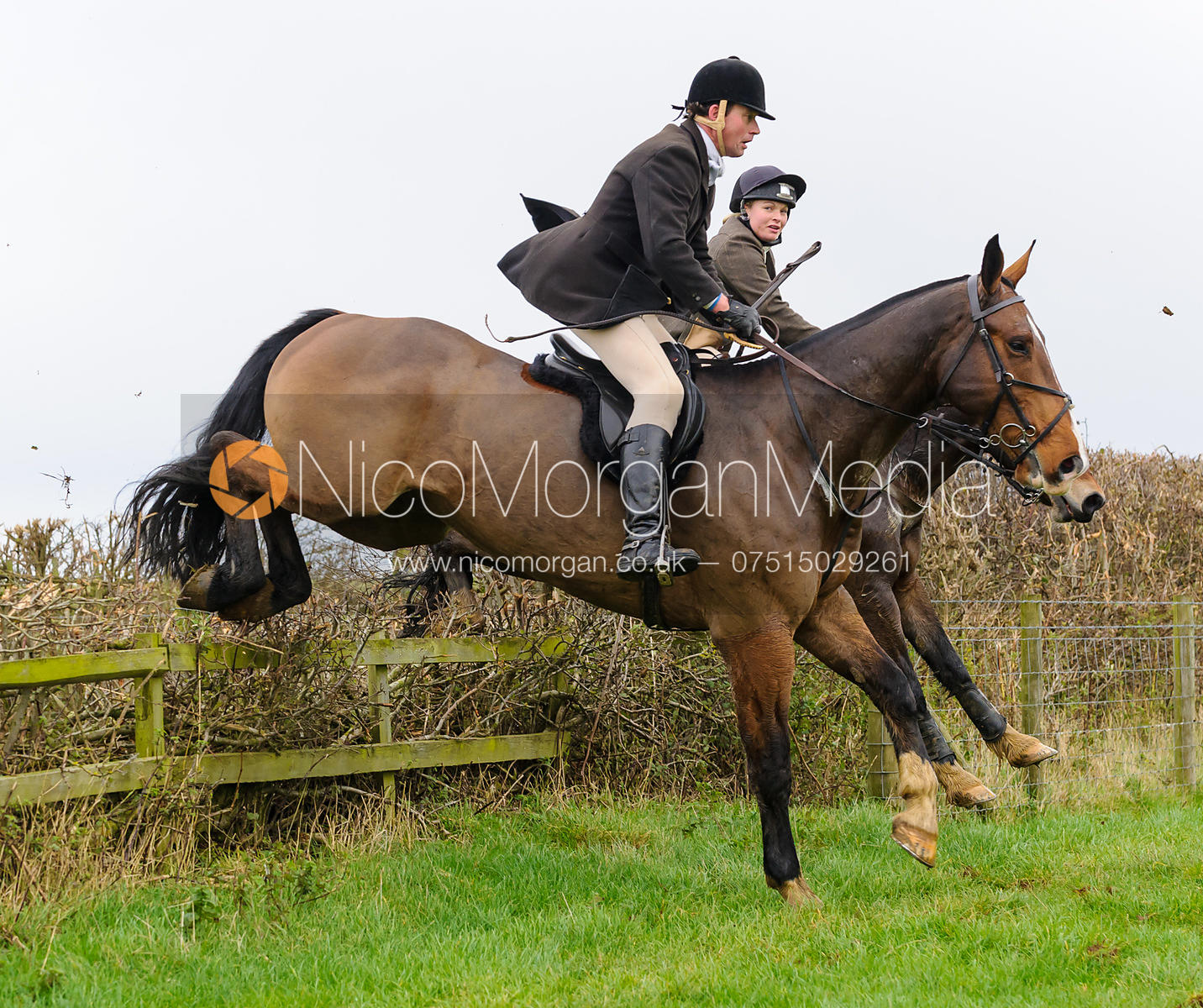 Howard Clark jumping at Stone Lodge Farm - The Cottesmore Hunt at Tilton on the Hill, 9-11-13