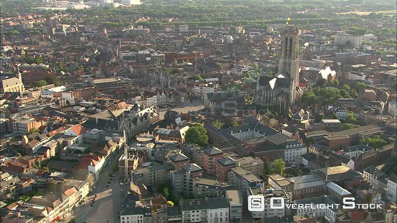 Saint Rumbold's Cathedral above cityscape of Mechelen, Belgium