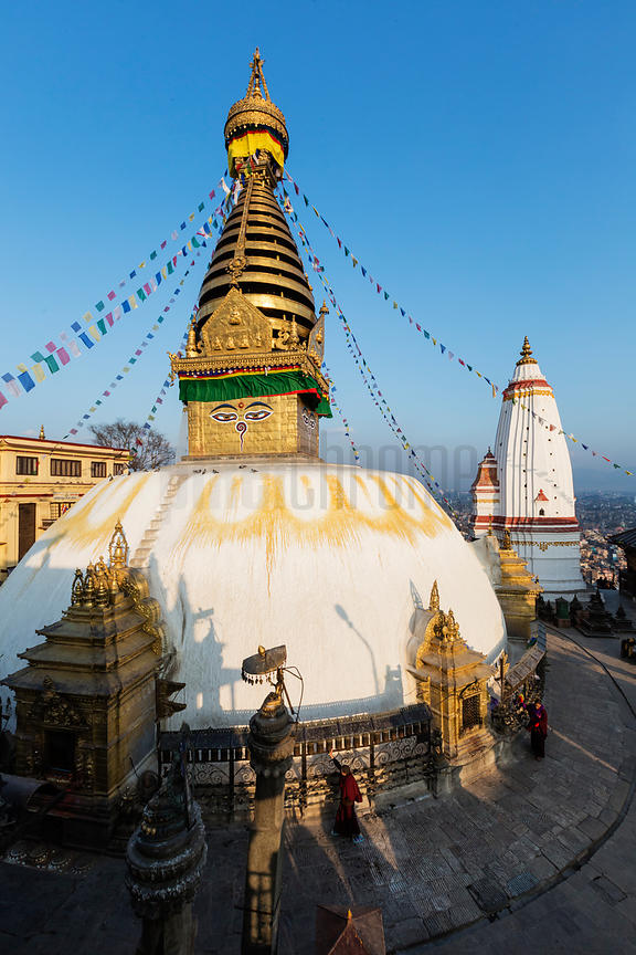 Elevated view of Swayambhunath (The Monkey Temple) at Sunset