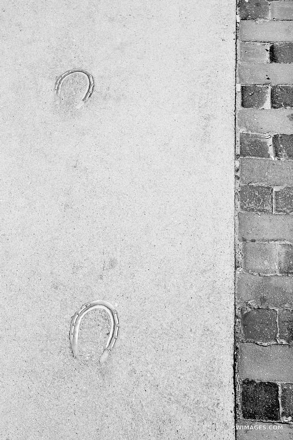 HORSESHOES IN SIDEWALK HARVARD SQUARE CAMBRIDGE MASSACHUSETTS BLACK AND WHITE