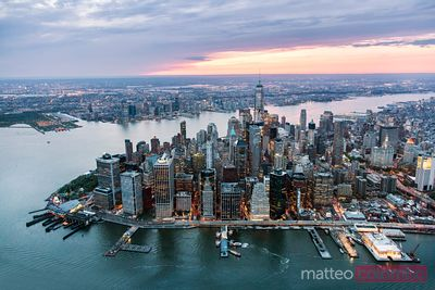 Aerial of lower Manhattan skyline at sunset, New York city, USA
