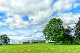 BANNOCKBURN, SCOTLAND - August 29, 2016: The Rotunda and Saltire flagpole at the Battle of Bannockburn visitors attraction, B...