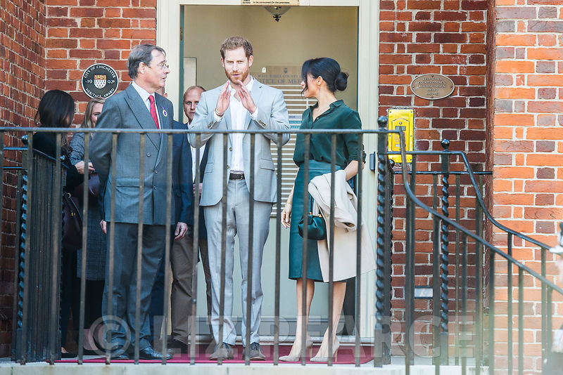 The Duke and Duchess of Sussex visit Chichester...Harry and Megan outside Edes House, County Hall, towards the end of their v...
