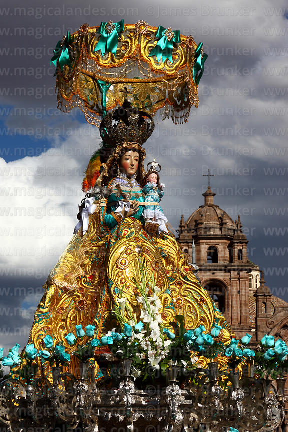 Virgen de Belen and Compañia de Jesus church , Corpus Christi festival , Plaza de Armas , Cusco , Peru
